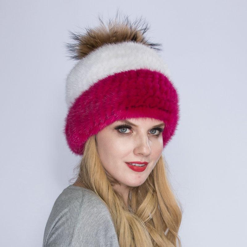 WNAORBM 100% vison nouveau hiver chaud vison chapeau mode dame tissé eau vison chapeau coupe-vent oreille protecteur chapeau avec renard chapeau balle - 2