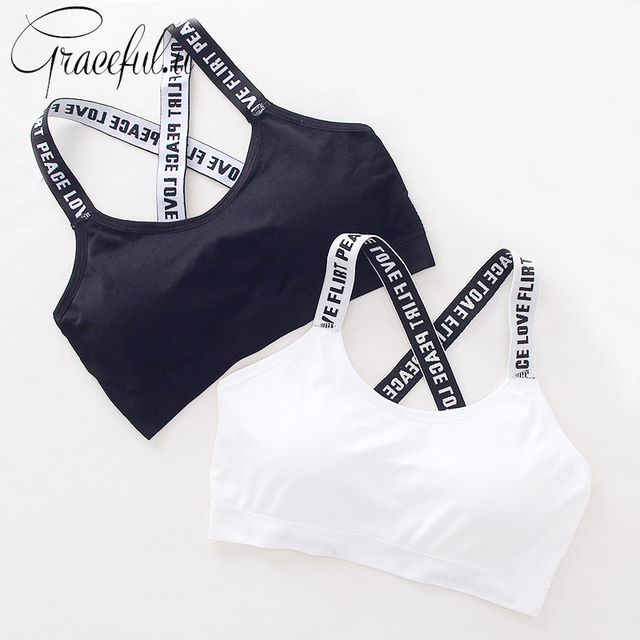 631b31f0ed Sexy Letters Printed Sports Bra Straps Seamless Running Yoga Bra Padded Gym  Fitness Sport Tank Crop Top