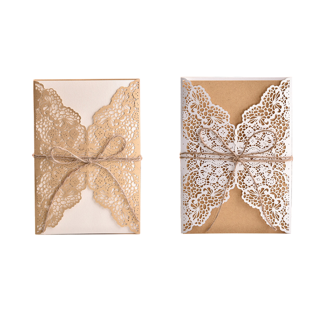 With a Rope Elegant Event Party Weddings Decor  Laser Cut Wedding Invitations Card  Fashion Shapes Cards Supplie