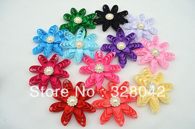 Trail order baby 3.5'' girl Solid Color Grosgrain Ribbon flowers pearl centre DIY handmade flowers hair accesories 12pcs/lot