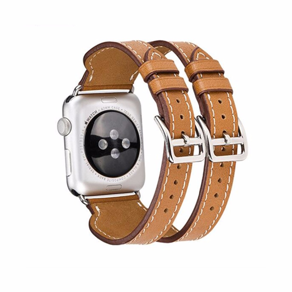 Genuine Leather watchband For Hermes Apple Watch band strap 42mm 38mm  bracelet Double buckle belt d2c504fee23