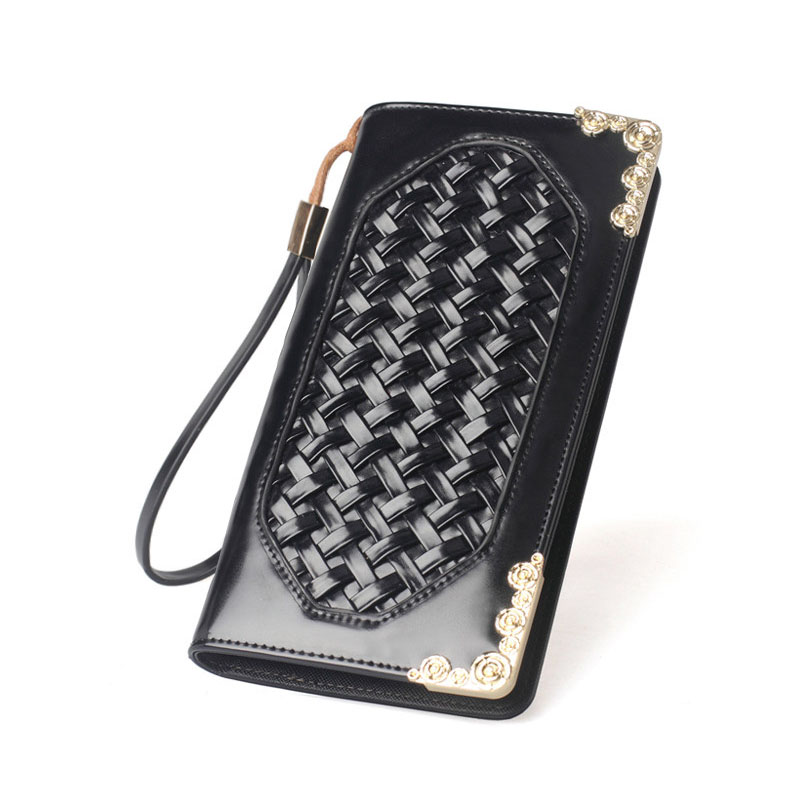 8102d3bb1 Elegante Tricô Ornamento Bolsa Da Forma Das Mulheres Zíper Moda Embossing  Carteira Grampo do Dinheiro Saco Do Telefone Celular Padrão de Tecido  Metálico