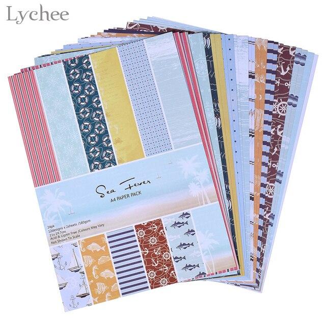 Lychee 24 Sheets DIY Handmade Origami Scrapbook Paper Craft Art Card Photo Album Design Making