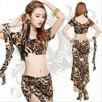 2015 New Style Belly Dance Practice Set Leopard Colors For Women Belly Dancing Costume Skirt On