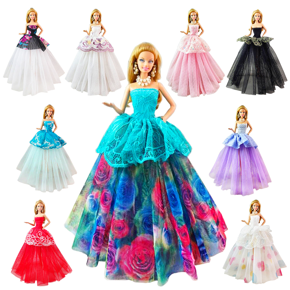 Nesest Fashion Handmade 7 Doll Items /lot Accessories Princess Wedding Dress For Barbie Game Birthday DIY Gift Toy For Children