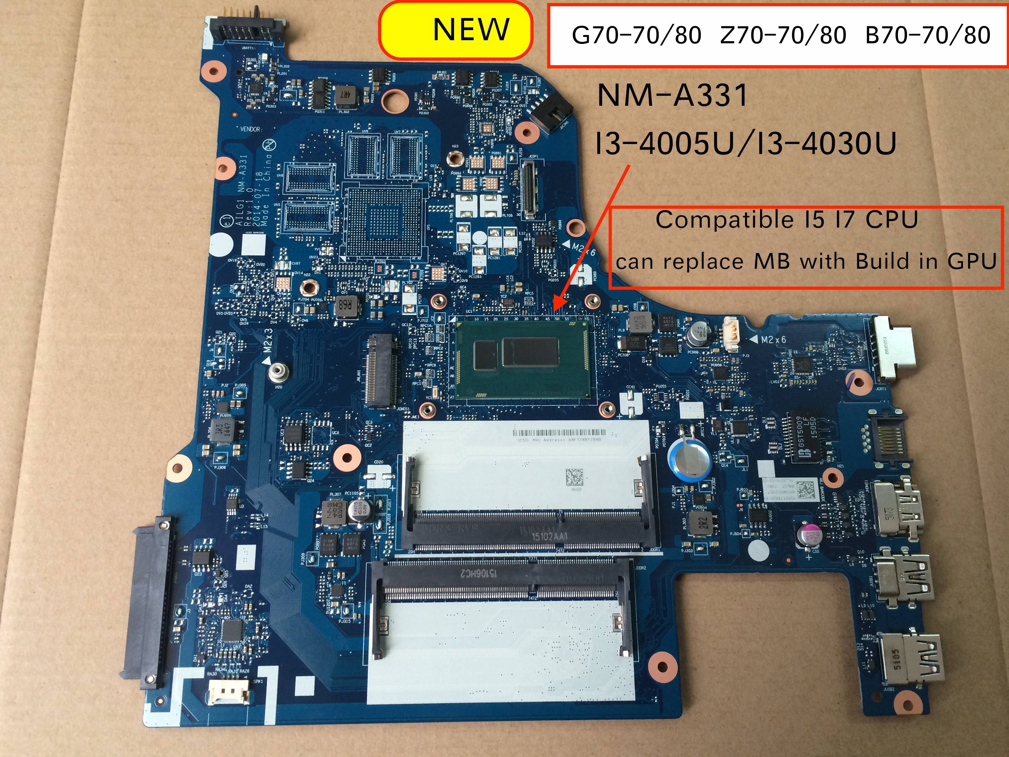 For Lenovo G70-70 G70-80 B70-80 B70-70 Z70-70 Z70-80 Laptop Motherboard AILG NM-A331 With I3-4005/ I3-4030 CPU