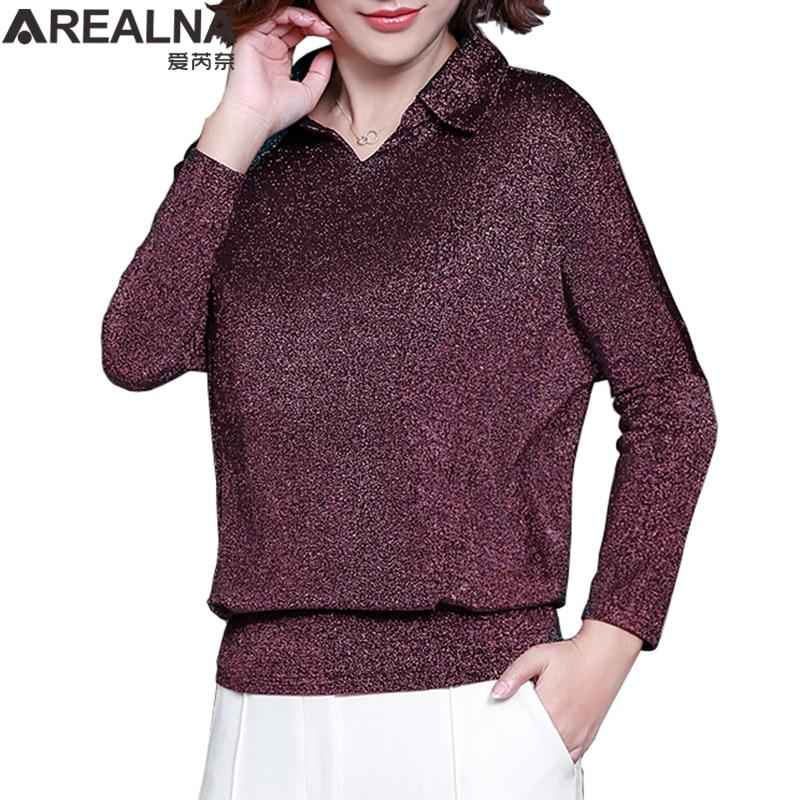 Blusas de moda 2019 estilo coreano brilhante lurex womens tops e blusas plus size manga comprida blusa lantejoulas streetwear camisas
