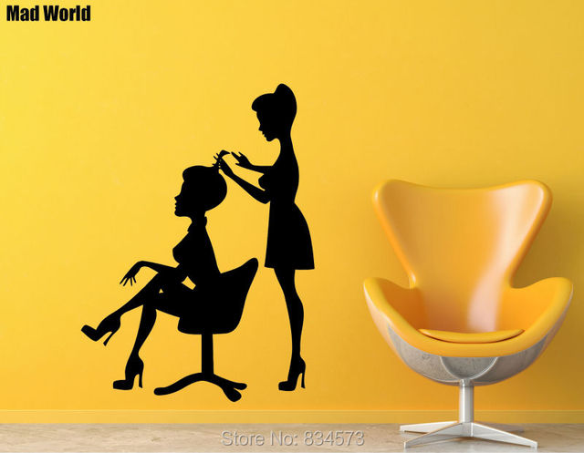 Mad World Barbershop Beauty Salon Hair Stylist Spa Wall Art Sticker ...