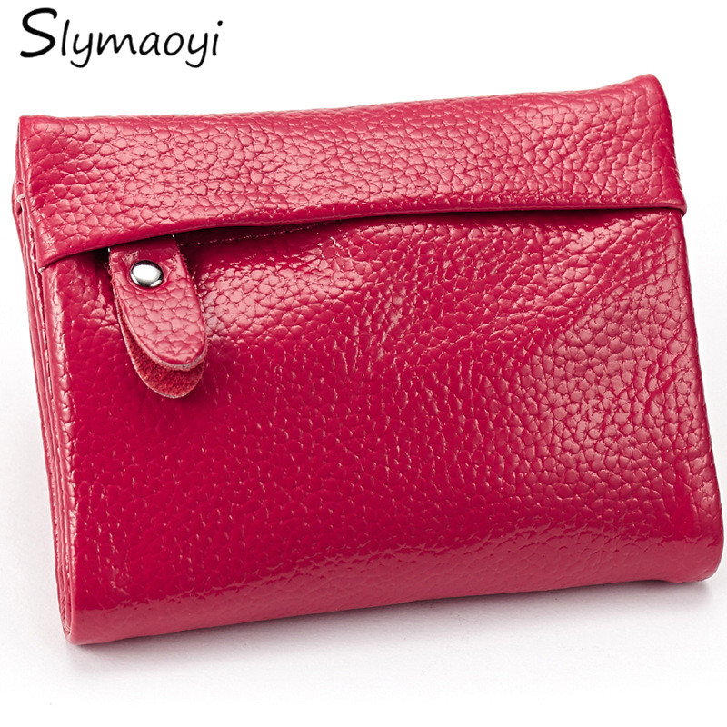 100% Genuine Leather Women Wallets Lady Short Mini Wallet Multifunction Female Coin Purse High Quality Bifold Card & Id Holders 2017 genuine cowhide leather brand women wallet short design lady small coin purse mini clutch cartera high quality