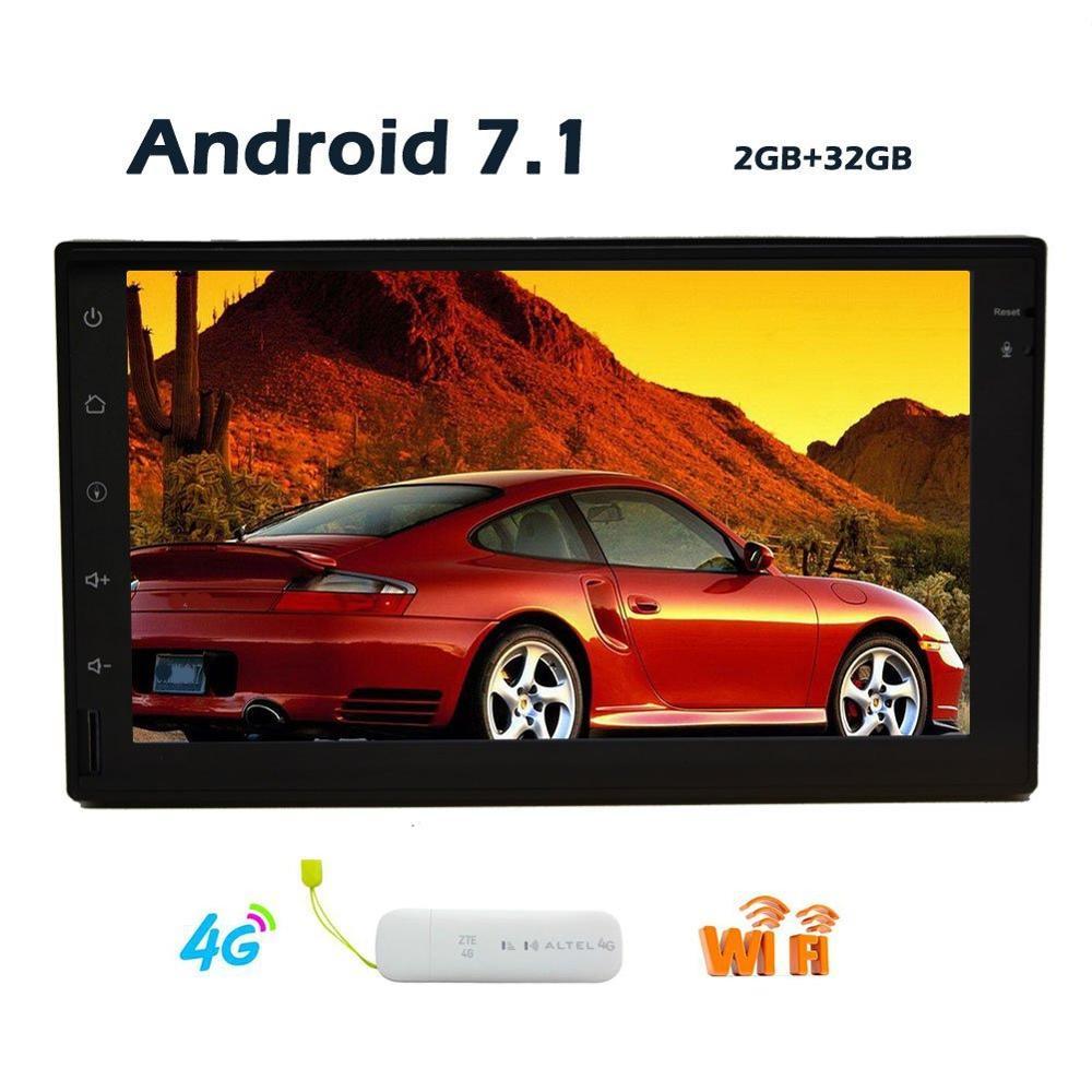Avec Dongle 4G gratuit et antenne GPS! Android 7.1 2 din Wifi modèle sans lecteur DVD voiture GPS Navigation stéréo véhicules USB/SD/Wifi