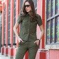 2016 T-Shirts Mujeres Femme Verano Único Breasted Turn Down Collar Verde Del Ejército Algodón Calificado S-3XL Ropa GS-8591A Z40
