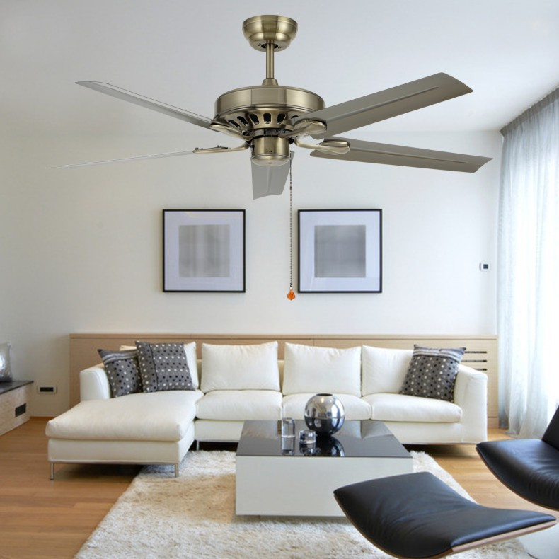 Ceiling Fans With Lights For Living Room: 48 Inch Iron Leaf Ceiling Fan Light Modern Minimalist
