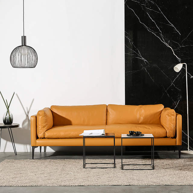 Nordic modern leather sofa leather down filled modern minimalist living  room sofa small apartment leather sofa