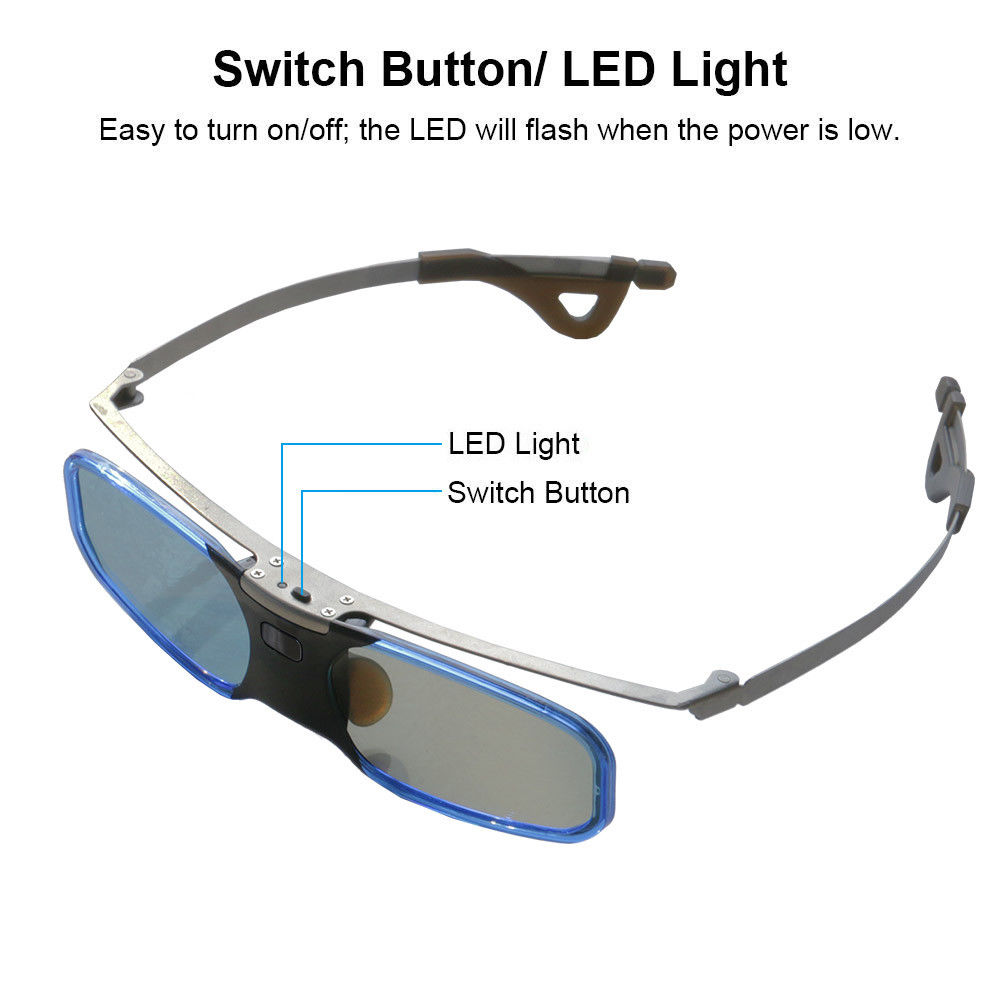 US $24 81 27% OFF|3D Glasses Active Shutter Bluetooth USB Rechargeable LED  Light support 3LCD Epson projector Samsung Panasonic Sharp 3D TV-in 3D