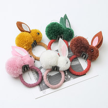 Cute children's rubber band girls head rope bunny Korean simple hair accessories hair ring girl rubber band headdress(China)