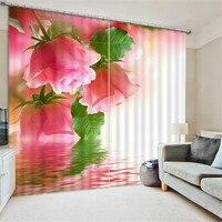 Роскошные элегантные 3D Розовая роза фото печать Затемненные окна шторы для гостиная постельные принадлежности комнаты украшения Шторы ...