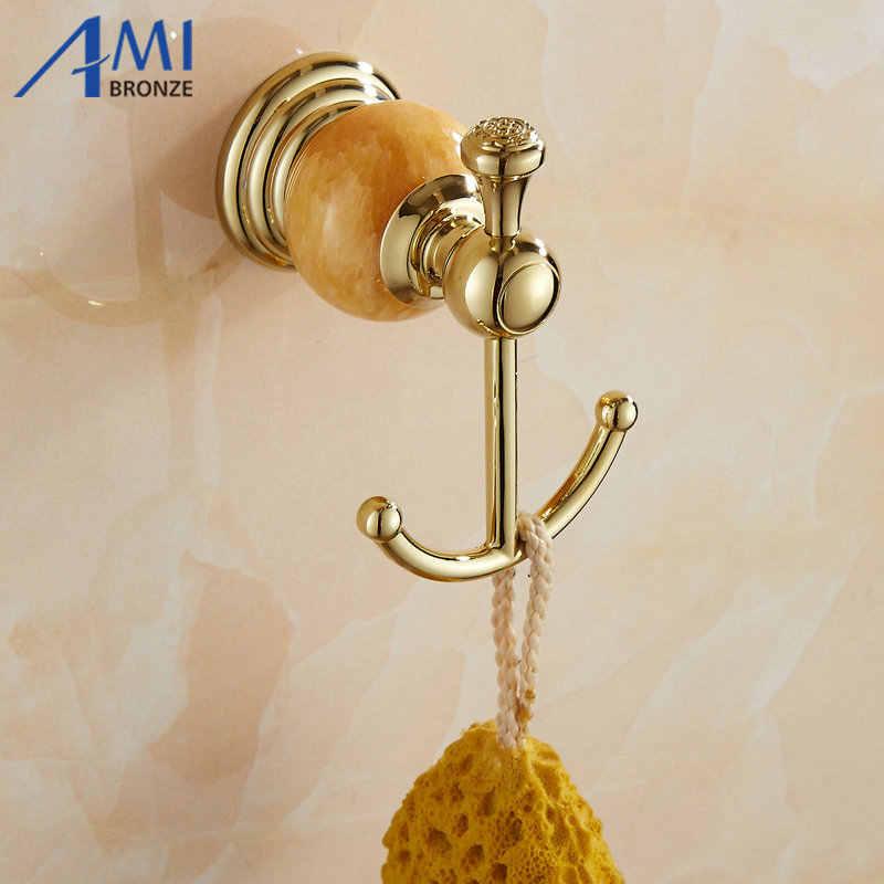 511G Serie Goldene Polnische Messing & Jade Wand Montiert Badezimmer Zubehör Sets Handtuch Rack Handtuch Regal Papier Halter Seife gericht