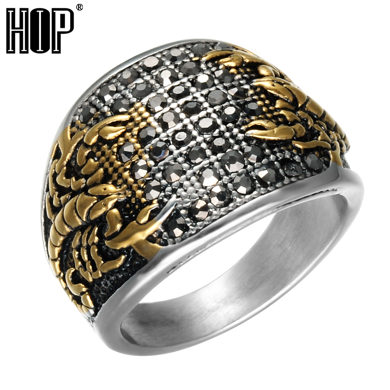 HIP Punk Vintage Black Crystal Scorpion Pattern Mens Ring Gold Color Round Stainless Steel Titanium Rings for Men Jewelry цена