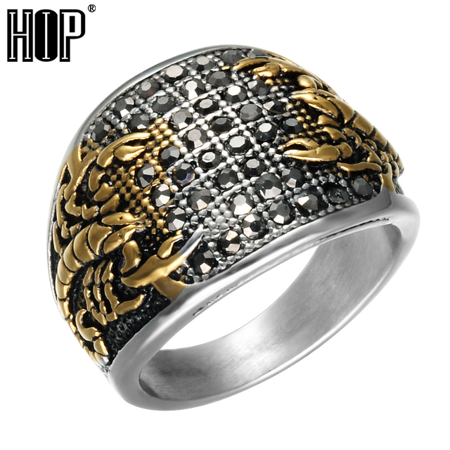 HIP Punk Vintage Black Crystal Scorpion Pattern Mens Ring Gold Color Round Stain