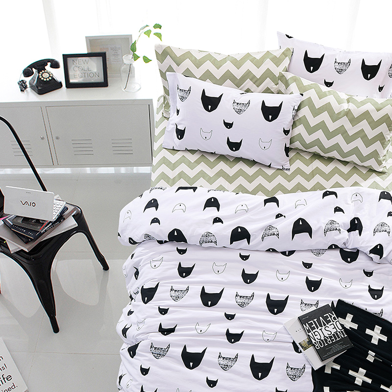 Buy 100 cotton cute black and white fox - Housse de couette noir et blanche ...