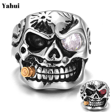 YaHui  Punk Domineering Smokes Skull head Finger Ring For Men knuckle Gothic Jewelry Silver Color Biker Rings Male Anel unicorn vnox rock punk men s cocktail ring vintage silver tone rings for men anel masculino turkish male jewelry