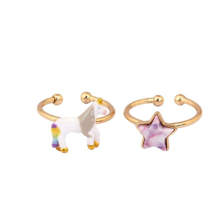 New France Dyxytwe Unicorn Dream Star Adjustable Ring Color Enamel Glaze Beautiful Ring Sets For Women Gift
