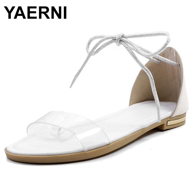 Ehrgeizig Yaerni Sexy Klar Transparent Flip Wohnungen Damen Casual Schuhe Frau Sommer Sandalen Chaussure Frauen Lace Up Schuh Zapatos Mujer QualitäT Zuerst