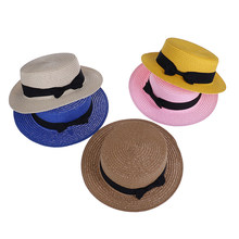 Daughter Macthing Beach Cute Hat Women Kids Baby Girls 2-8T Mother Lovely Bowknot Flat Wide Brim Cap Summer Boho Straw Sun Hat(China)