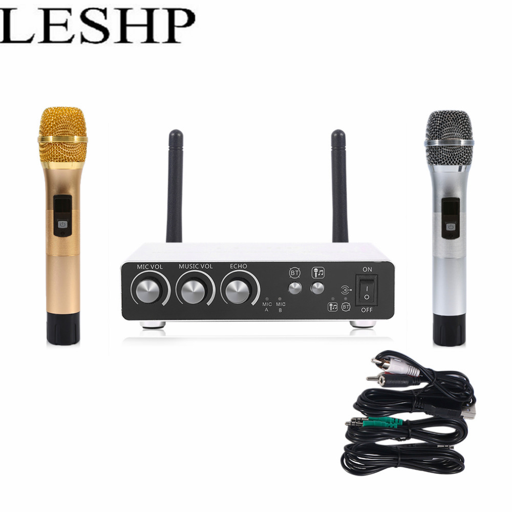 LESHP K28 Professional UHF Microphone Wireless Karaoke System Dual Handheld Cordless Mic LED Display Receiver For KTV Stage Sing  professional vhf dual wireless microphone system mic for shure karaoke singing ktv stage conference computer microfone sem fio