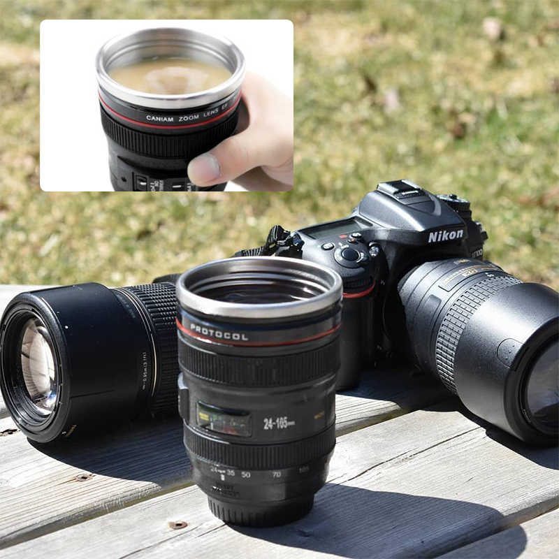 Travel Drinkware Steel Shaped Coffee With 300 Vacuum Novelty Camera Lens Tea Mugs Cup Flasks Gifts Lid 400ml Stainless 8mnN0w