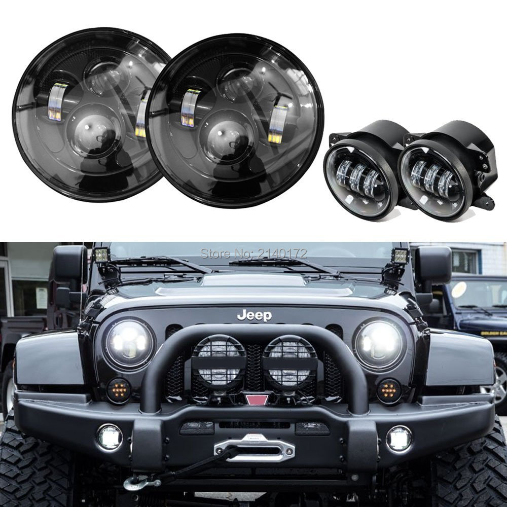 H4 to H13 7 inch Round LED Headlight for Jeep Wrangler JK CJ Hummer High/Low Dual Beam + Black 4inch LED Front Fog Light for jeep wrangler jk anti rust hard steel front