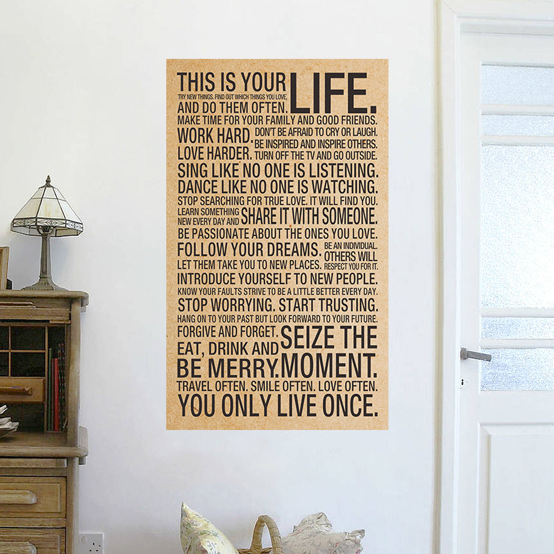 world popular quote This Is Your Life Vintage Poster painting inspirational words kraft paper wall stickers home office wall art ...