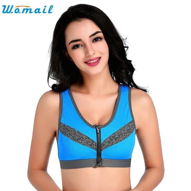 9b5e72bae1 New Women Girls Padded Bra Vest Top Running Gym Yoga Bras Sports Bra  Fitness Zipper Underwear Ladies Push Up Athletic Tops Mar22