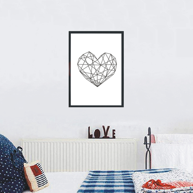 Modern Heart Print Canvas Art Poster Geometric Heart Art  Heart Wall Prints 1