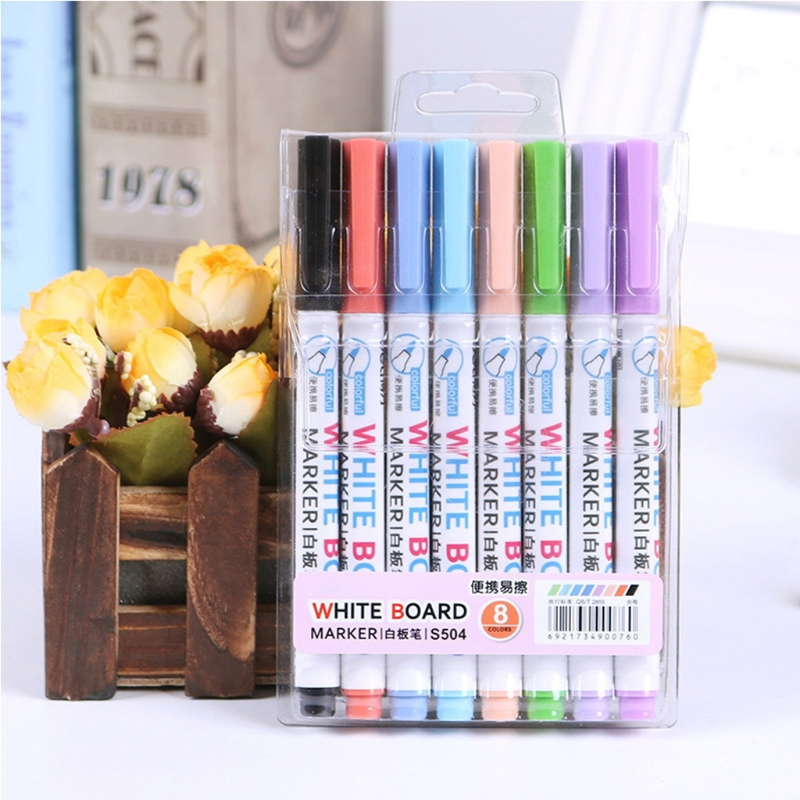 8 Colors Wipeable Glass Window Whiteboard Marker Pen Shop Car Decorating Tool Marker Pen in Whiteboard Marker from Office School Supplies