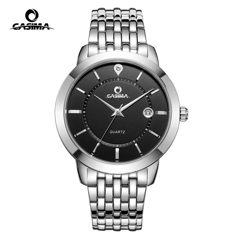 Fashion Casual Couple Watch Stainless Steel Gold Quartz Watch With Calendar Waterproof Lover's Wristwatch for Men and Women 9001 mlb time square series fashion sport couple watch waterproof wristwatch leather band quartz watch for men and women sd008
