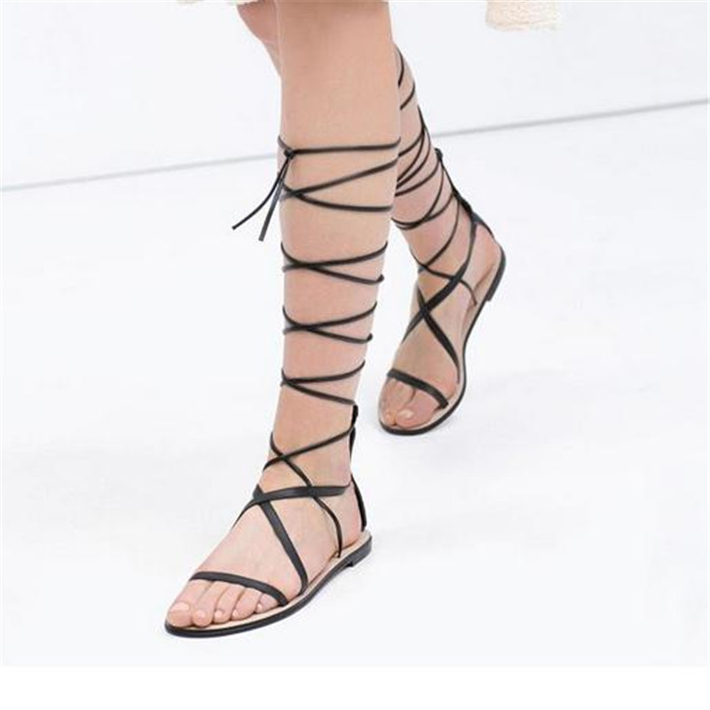 Fashion show same style women roma black knee tall high roman gladiator flat  boot sandals sandal sandalia gladiado shoes boots 7-in Women s Sandals from  ... 823925283c7a