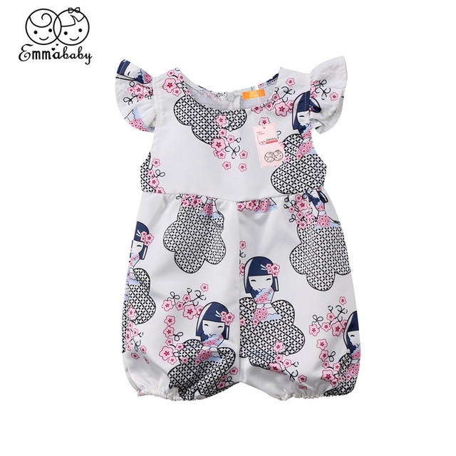 ebfe67b6729 Adorable Floral Romper For Girls 2018 Newborn Baby Girls Anime Cartoon Romper  New Bebes Jumpsuit Sunsuit Hot Sale Baby Clothing
