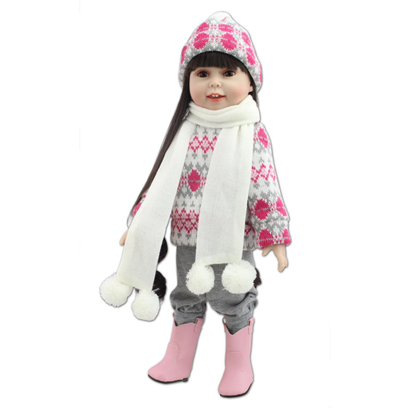 45 CM American Girl Dolls with Clothes Scarf Hat,Lovely Reborn Baby Girls Doll Princess Doll Soft Toys for Children's Gifts 18 high quanlity lovely american princess baby hot girl doll lifelike baby dolls for girls