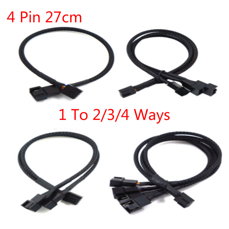 4 Pin Pwm Fan <font><b>Cable</b></font> 1 To 2/3/4 Ways Splitter Black Sleeved 27cm Extension <font><b>Cable</b></font> Connector <font><b>4Pin</b></font> PWM Extension <font><b>Cables</b></font> image
