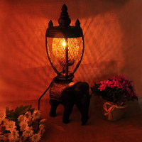 Retro tajlandia stół do pokoju dziennego światła na ścianie domu Deco lampy stołowe do sypialni luksusowe Craft lampa stołowa serii w Lampy stołowe od Lampy i oświetlenie na