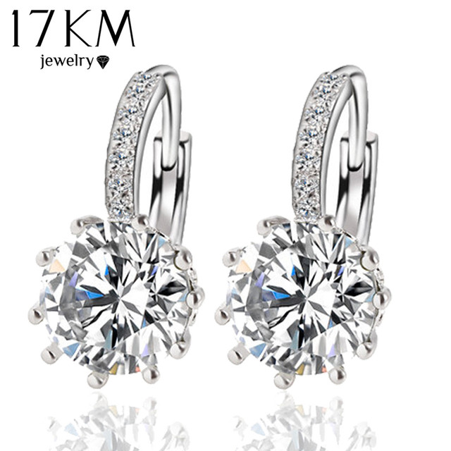 f1727a681 Fashion Alloy Silver Color 10 Color Geometry Crystal Earring Simple Jewelry  Design Round Zirconia Earrings Statement For Women