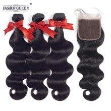 Brazilian Body Wave 3 Bundles With Closure Free/Middle/Free Part NonRemy Brazillian Human Hair Weave Bundles Natural Color
