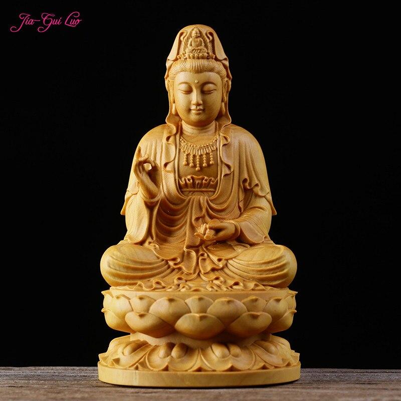 JIA-GUI LUO créatif buis Sculpture modèle décor à la maison en bois chinois bouddha Sculpture Guanyin Bodhisattva A049