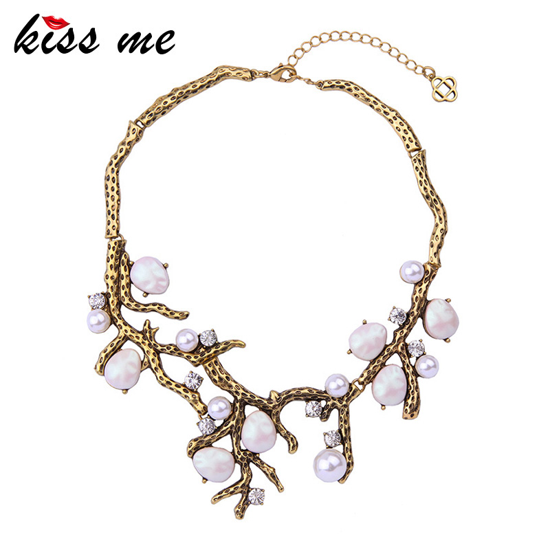 KISS ME Water Drop Imitation Pearl Women Necklace Hyperbole Alloy Vintage Short Collar Necklace Statement Jewelry men denim shoes piergitar new fashion star men loafers navy blue plus size men s flats size us 4 17 free shipping