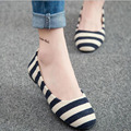 2016 Spring Summer Hot Sale Women Hemp Shallow Mouth Loafers Single Shoes Casual Flats Slip-on Striped Printed Shoes Size 35-39
