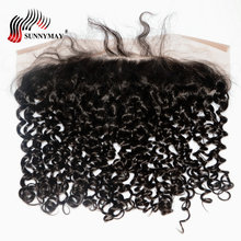 Sunnymay Brazilian Virgin Hair 13x6 Lace Frontal Closure Curly Ear to Pre Plucked With Baby Human
