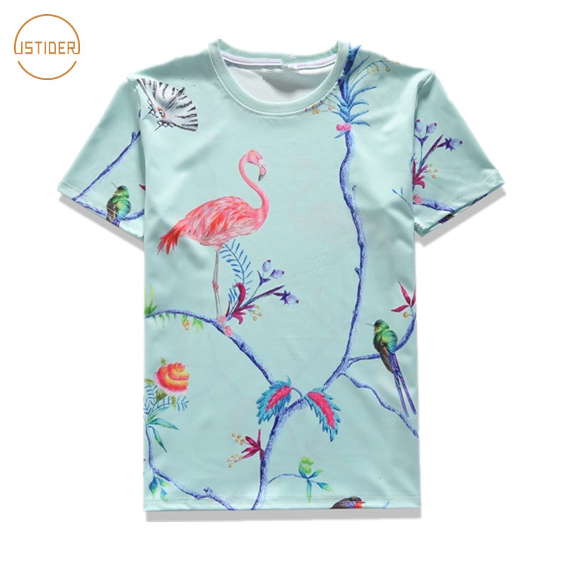 Istider 2017 summer women men t shirts flamingo lucky bird for Print one t shirt