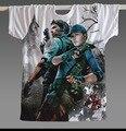 Frete grátis 2017 Alta Qualidade Resident Evil 4 Biohazard Leon Kennedy Cinza Tecido Spandex Camiseta Cosplay Traje para o verão