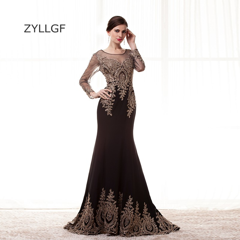 ZYLLGF Long Sleeve Black   Bridesmaid     Dresses   Fishtail O Neck Appliques See Through Robe De Soiree 2018 With Beadings Q119